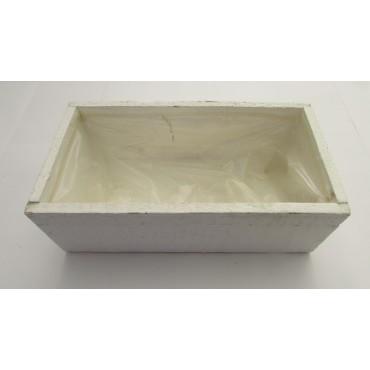 Jardinera madera 22x11x7.5cm blanco