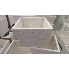 Tiesto madera 13x13x10cm blanco