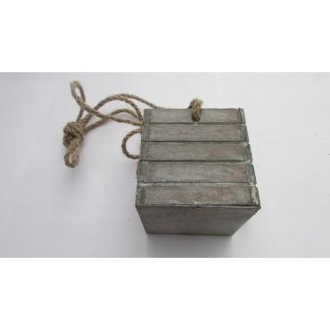 Tiesto colgante madera 9x9x9cm gris